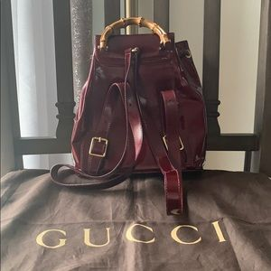 Gucci Bags - Auth. Small Maroon Gucci Bamboo Backpack!💗❤️💗